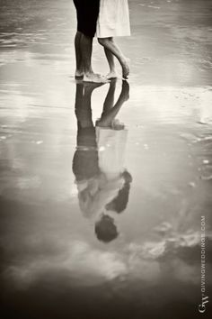 LOVE THIS !!!! I know the perfect place for this!!  beach couple reflection