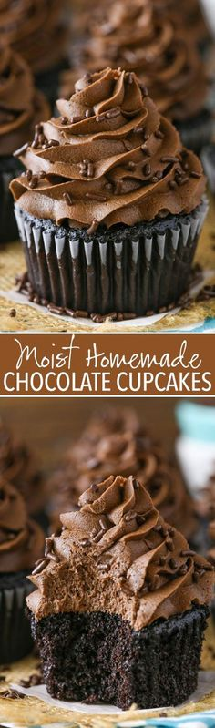 Moist Homemade Chocolate Cupcakes - The Best Chocolate Cupcakes! So wet and full of chocolate! Moist Homemade Chocolate Cupcakes - The Best Chocolate Cupcakes! So wet and full of chocolate! Just Desserts, Delicious Desserts, Dessert Recipes, Homemade Cupcake Recipes, Greek Desserts, Easy Baking Recipes, Homemade Recipe, Baking Desserts, Top Recipes