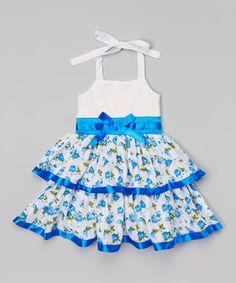 Look what I found on #zulily! Blue Floral Bow Halter Dress - Toddler & Girls by Unik #zulilyfinds