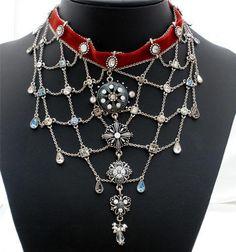 Pleiades Paris Runway Bib Necklace Red Velvet AB Crystal Gothic Festoon Signed | eBay