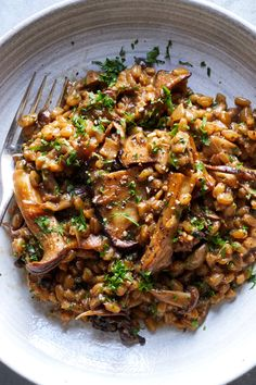 Creamy Farro With Crispy Mushrooms and Sour Cream Recipe - NYT Cooking (use vege. - Creamy Farro With Crispy Mushrooms and Sour Cream Recipe – NYT Cooking (use vegetable broth and vegan sour cream to make vegan) Farro Recipes, Cooking Recipes, Healthy Recipes, Cooking Pork, Cooking Fish, Cooking Games, Vegetarian Mushroom Recipes, Cooking Burgers, Cooking Courses
