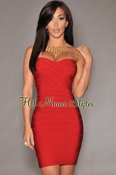 Red Strapless Bandage Dress Womens clothing clothes hot miami styles hotmiamistyles hotmiamistyles.com sexy club wear evening clubwear cocktail party kim kardashian dresses bandage body con bodycon herve leger