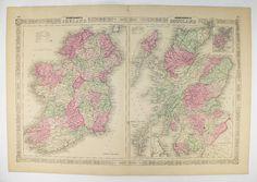 1864 Ireland Map Scotland Antique Map, Unique Wedding Gift for Couple 1864 Johnson Map Ireland Gift for Him, Scotland Art Map, Irish Décor available from www.OldMapsandPrints.Etsy.com #Ireland #Scotland #1864JohnsonMapofIrelandAndScotland