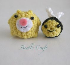 Yellow Beeble and mini Beeble Bee Crochet creatures with beads for eyes and felt muzzles 2-5 cm