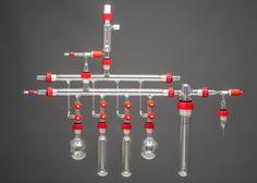 Full Double Schlenk Line with 4 Bottom Ports, Overpressure Valve, 2 Flasks, 2 Bottles, Trap & Adapters #Chemistry #Vacuum #Schlenkline...glassblowing@yorlab.co.uk