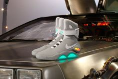 Featured in 2011 Nike Mag  these sneakers are based off of an original movie prop in Back to the Future Part II, a clever recreation of Marty McFly's infamous shoes. Over the course of 10 days, 1,500 pairs were made and all of the net proceeds went to the Michael J. Fox Foundation for Parkinson's Research.