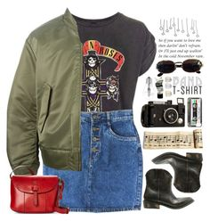 """""""November Rain"""" by doga1 ❤ liked on Polyvore featuring Topshop, MANGO, Versace, adidas Originals, Lucky Brand, Aesop, Osram, bandtshirt and bandtee"""