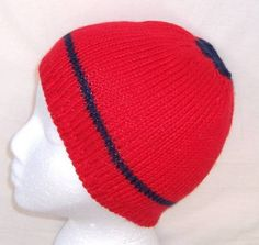 Red with Navy Stripe  Skullcap  teens beanie    651 by CaboDesigns (Accessories, Hats & Caps, Winter Hats, Skull Caps & Beanies, skullcap, cap, tam, clothing, red, knitting, winter, adult, warm, knit)