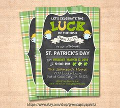 Invite your friends to your St. Patrick's Day themed party with this invitation that features beer graphics and shamrock. It features a plaid background and chalkboard style as well.