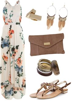 """Cream/Orange/Blue/Green, Brown & Gold Outfit."" by xabbielou on Polyvore"