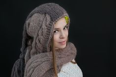 Handknit Hooded Scarf Two Color by KlestilKiss on Etsy