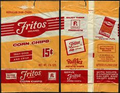 The old Fritos package.....Frito pie was the best! You cut the bag on the long side and then put hamburger and cheese in. Yum!!!