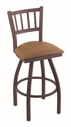 "Holland Bar Stool Co. 810 Contessa 25"" Counter Stool with Bronze Finish and Swivel Seat, Allante Beechwood"