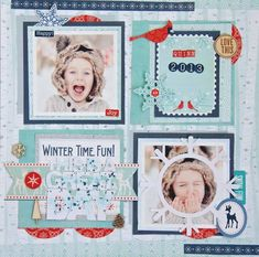 Winter Time Fun - Scrapbook.com - Scrapbook fabulously fun winter photos with a blue and white color combination. Then add pops of red to give the layout that WOW factor!