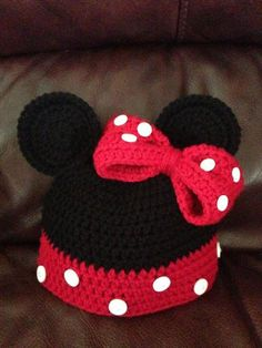 Minnie Mouse Hat with Bow by SweetpeasBoobyBoutiq on Etsy, $25.00