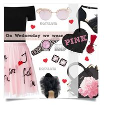 """""""On Wednesday we wear Pink"""" by linkfari ❤ liked on Polyvore featuring Le Specs, P.A.R.O.S.H., Alice + Olivia, Isa Tapia, Calvin Klein, Armitron, Seaman Schepps and contestentry"""
