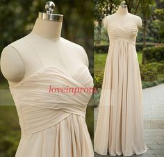 Handmade pleat chiffon champagne bridesmaid dress,sweetheart champagne wedding party dresses,long prom /evening dresses    Rush order link :