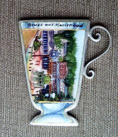 Marienbad Andenken um 1900, Jugendstil Silber Charm enameled, handgemalt Charms, Baseball Cards, Shop, Ebay, Keepsakes, Art Nouveau, Young Adults, Silver, Kunst