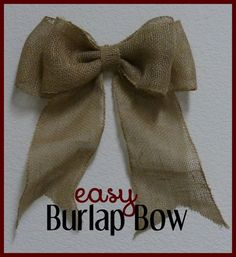 How To Make A Burlap Bow Learn - http://youtu.be/xejV0-8heCk http://kidpep.com/blog/diy-burlap-bow-for-wreaths-home-decor/ #diy #howto #diyproject: