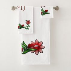 Floral Impressions Art Deco Bath Towel Set - rose style gifts diy customize special roses flowers