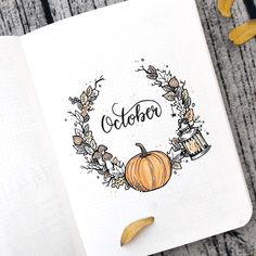 This bullet journal idea for October is super cute. I recreated this idea in my bullet journal and it is such an adorable idea :) Bullet Journal Cover Page, Bullet Journal 2020, Bullet Journal Aesthetic, Bullet Journal Spread, Bullet Journal Inspo, Journal Covers, Autumn Bullet Journal, Bullet Journal October Theme, Bullet Journals