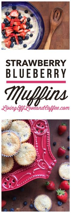 Delicious Strawberry-blueberry muffins. Perfect for a healthy holiday breakfast.
