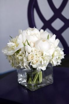 Wedding table flowers round bouquets new Ideas White Centerpiece, Floral Centerpieces, Wedding Centerpieces, Wedding Table, Wedding Decorations, Square Vase Centerpieces, Wedding Reception, Carnation Centerpieces, Flower Centrepieces