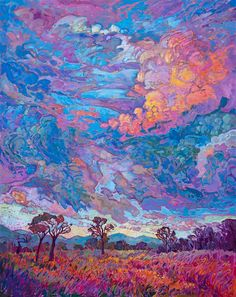 Texan Sky III - Erin Hanson Prints - Buy Contemporary Impressionism Fine Art Prints Artist Direct from The Erin Hanson Gallery Blog Art, Impressionist Paintings, Impressionist Landscape, Modern Impressionism, Psychedelic Art, Pretty Art, Aesthetic Art, Landscape Art, Landscape Paintings
