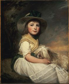 """In honor of National Dog Day, we celebrate our faithful friends with this touching painting by English painter George Romney. """"Portrait of Marianne Holbech,"""" by George Romney Portrait Art, Portraits, Moonlight Painting, 18th Century Costume, Royal Academy Of Arts, Philadelphia Museum Of Art, European Paintings, Art Plastique, Cute Illustration"""