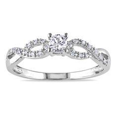 "<li>Round-cut created white sapphire and round white diamond promise ring</li><li>Sterling silver jewelry</li><li><a href=""http://www.overstock.com/downloads/pdf/2010_RingSizing.pdf""><span class=""links"">Click here for ring sizing guide</span></a></li>"