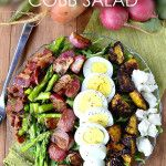 Composed Roasted Spring Vegetable Cobb Salad with Honey-Herb Vinaigrette/eggs, bacon,radish,asparagus,golden beets,arugula(or any other lettuce), goat cheese