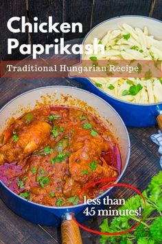 Looking for the perfect family-friendly lunch in less than 45 minutes?  Try Hungarian Chicken Paprikash!  Chicken Paprikash recipe is very simple and quick to make. It is made of chicken, onion, peppers, sour cream and, of course, paprika.  Chicken Paprikash (Csirkepaprikás) is one of those dishes that are a trademark of traditional Hungarian cuisine. #hungary, #hungarianrecipes, #hungarianfood, #traditionalhungarianfood, #whattoeatinhungary