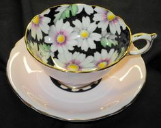 PARAGON HAND PAINTED PASTEL FLOWER BLACK  TEA CUP AND SAUCER DAISY MAUVE #ParagonEnglandRoyal