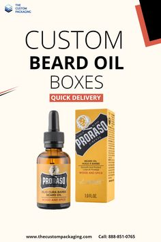 Get our top-notch Custom Beard Oil Boxes to preserve your beard oil bottles. For more info: Call: 888-851-0765 Email: support@thecustompackaging.com #customboxes #beardoil #custompackaging #BEARD Custom Packaging, Box Packaging, Beard Oil, Custom Boxes, Preserve, Bottles, Custom Design, Spices, Prints