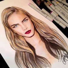 sketch of Cara Delevingne