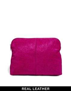 Image 1 ofASOS Leather Clutch Bag In Pony And Soft Construction