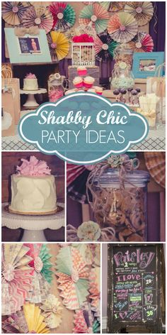 A shabby chic first birthday party in pastels with a cute smash cake! See more party ideas at CatchMyParty.com!