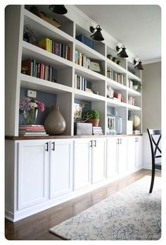 Ikea Butcher Block, Butcher Block Countertops, Stone Countertops, Home Theather, Used Kitchen Cabinets, Ikea Cabinets, Upper Cabinets, White Cabinets, Living Room Built In Cabinets