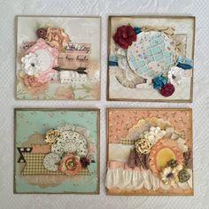 Greeting Cards Shabby Chic Set of 4 by MintCraftingCompany on Etsy