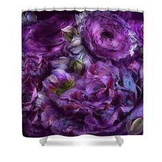 Peonies In Purples designer shower curtain featuring the art of Carol Cavalaris.