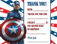 Captain America Birthday Party Thank You Note Cards Personalized Custom for sale online Birthday Thank You Cards, Thank You Note Cards, Captain America Birthday, Birthday Parties, Party, How To Make, Ebay, Anniversary Parties, Fiesta Party