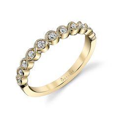 Vintage Style Stackable Diamond Wedding Band | Diamond Wedding Band