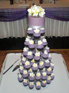 Sugar Siren Cakes Mackay: Purple Frangipani Wedding Cupcake Tower