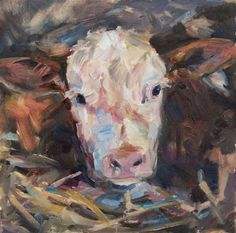 "Daily+Paintworks+-+""Hereford+Calf,+White+faced+calf,+Orignal+oil+by+Carol+DeMumbrum""+-+Original+Fine+Art+for+Sale+-+©+Carol+DeMumbrum"