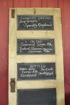 Vintage Door Chalkboard Cocktail Menu Sign