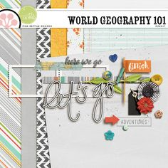FREE Mini Kit by Pink Reptile Designs / The August 2015 DigiScrap Parade - World Geography 101