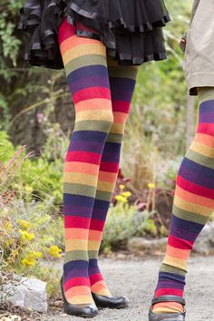 Our Dreamily muted Harvest Rainbow palette on an even longer sock!  Made exclusively for Sock Dreams in the USA.