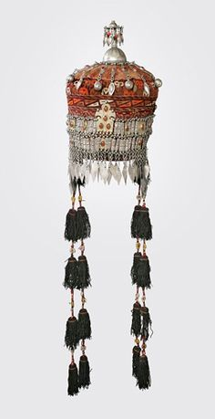 Afghanistan | Woman's cap (Tjubetejka) with headband ornament (Sinsile) and domed finial (Gupb) from the Ersari Turkmen people | Cotton, silver thread, silver and glass beads | ca. early 20th century