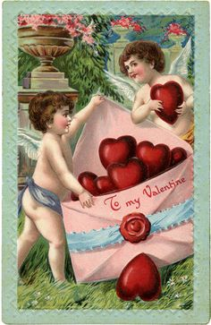 The Graphics Fairy - Free Printable Vintage Valentine postcard Valentine Cupid, Valentine Images, My Funny Valentine, Vintage Valentine Cards, Vintage Holiday, Valentine Day Cards, Valentine Crafts, Happy Valentines Day, Cherub