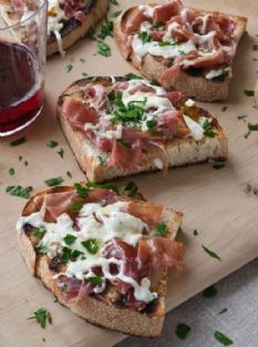 Grilled Bread with Prosciutto --Ina Garten Note: add a little honey to top